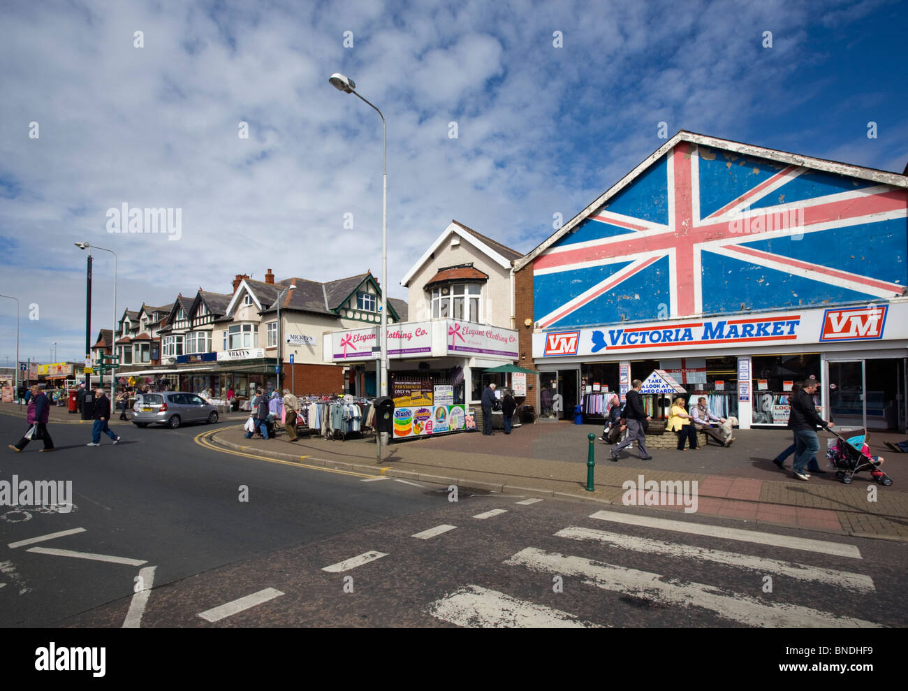 Cleveleys town center and Victoria Market Stock Photo ...