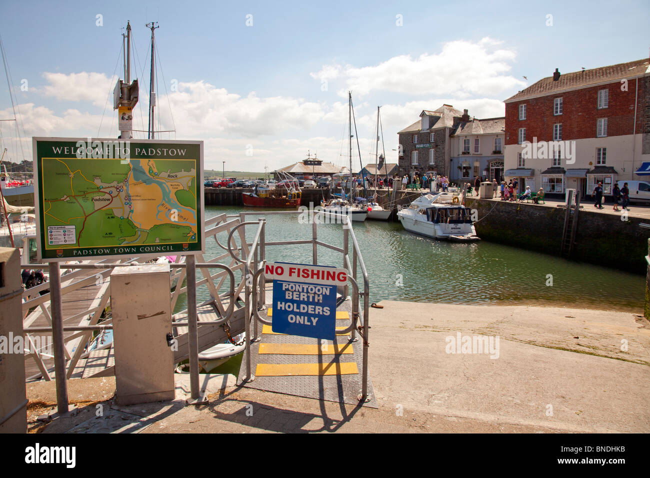 The small, town, village of Padstow in Cornwall, England made famous by Rick Stein the infamous chef - Stock Image