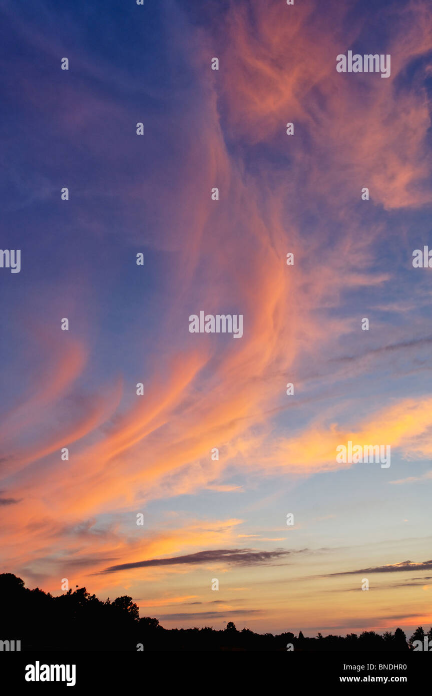 Cirrus Clouds at Sunset in Floyd County, Indiana - Stock Image