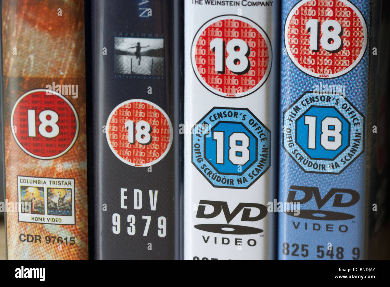 row of dvd video cases showing bbfc and irish film censors