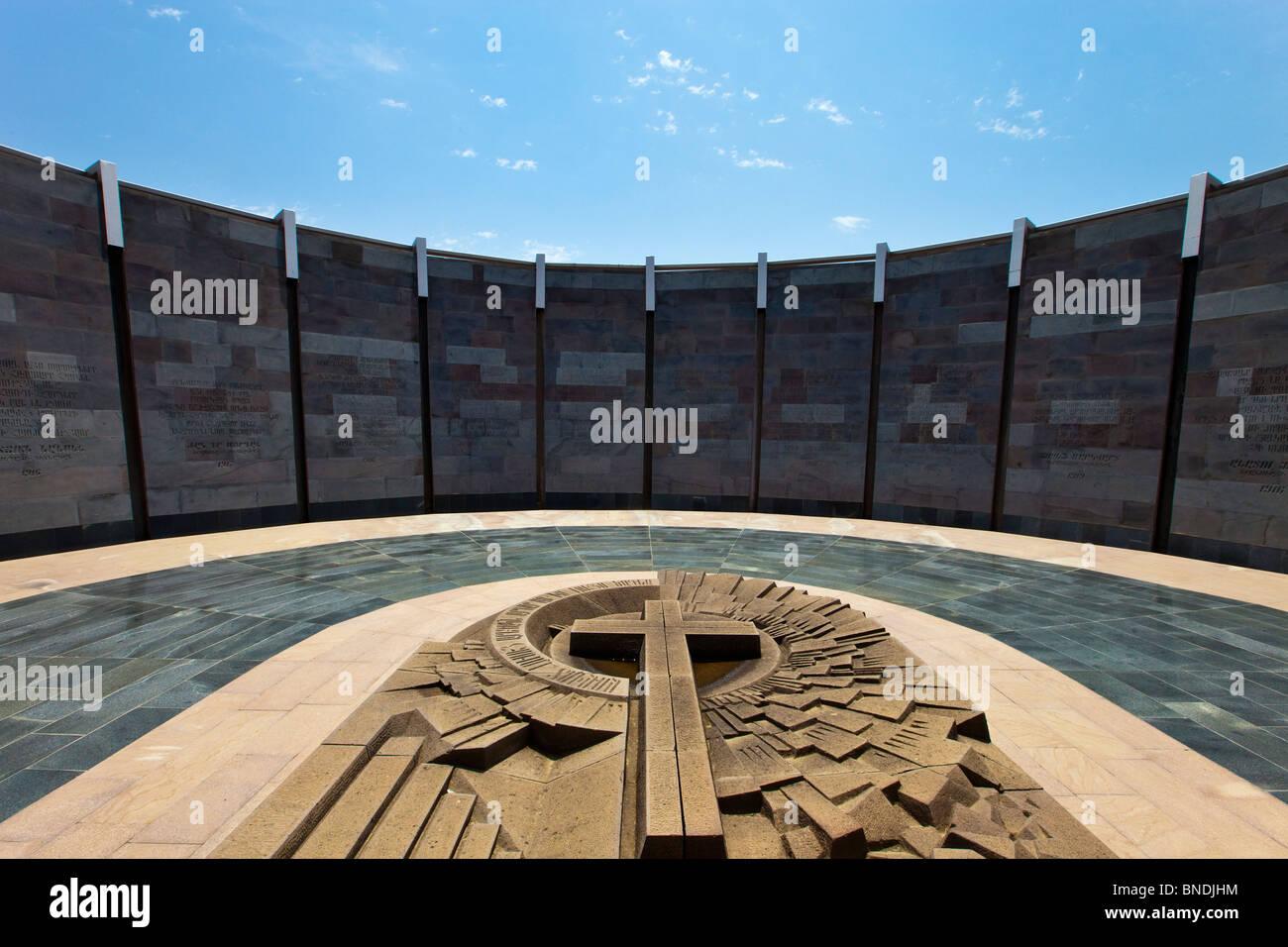 Museum and Memorial of the Armenian Genocide on Tsitsernakaberd in Yerevan Armenia - Stock Image
