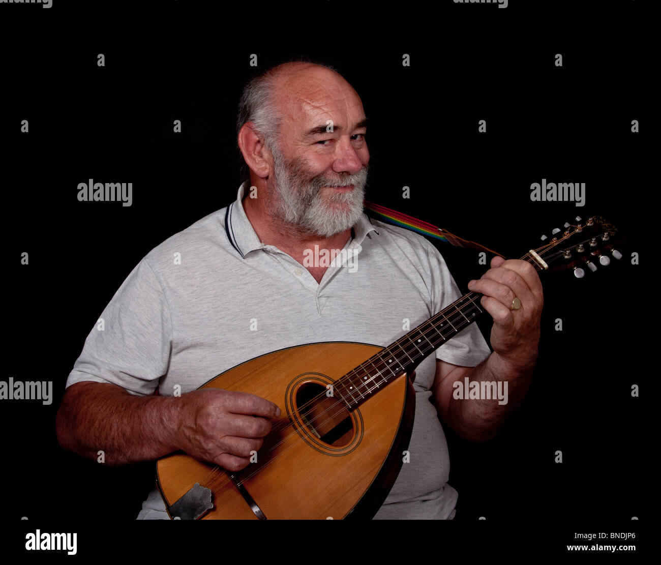 Bearded musician plays octave mandola, smiling - Stock Image
