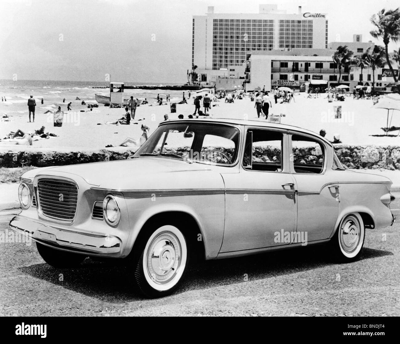 Vintage car parked on road, Studebaker Lark, 1959 - Stock Image