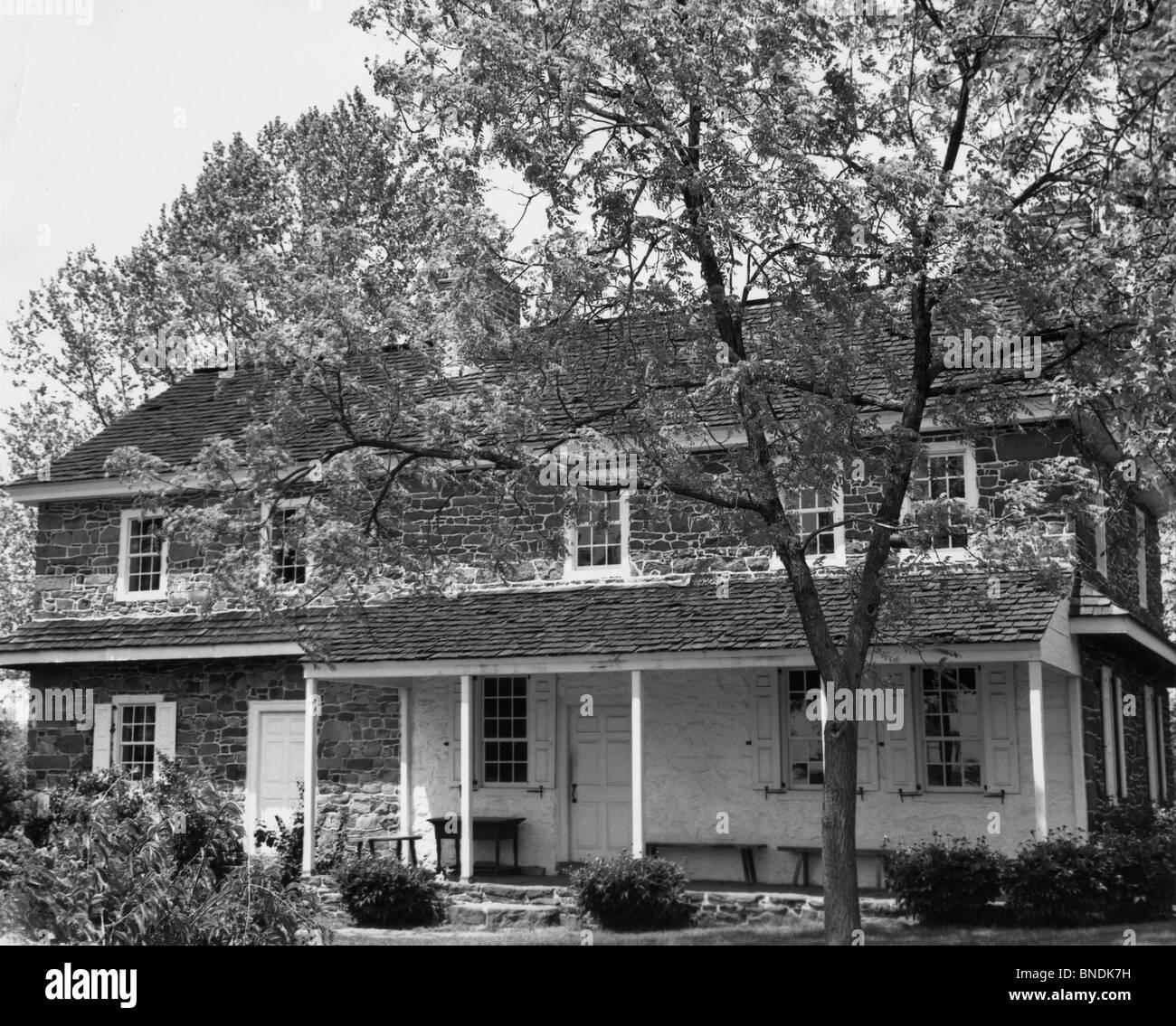 Facade of a house, Daniel Boone Homestead, Pennsylvania, USA, 1734 - Stock Image