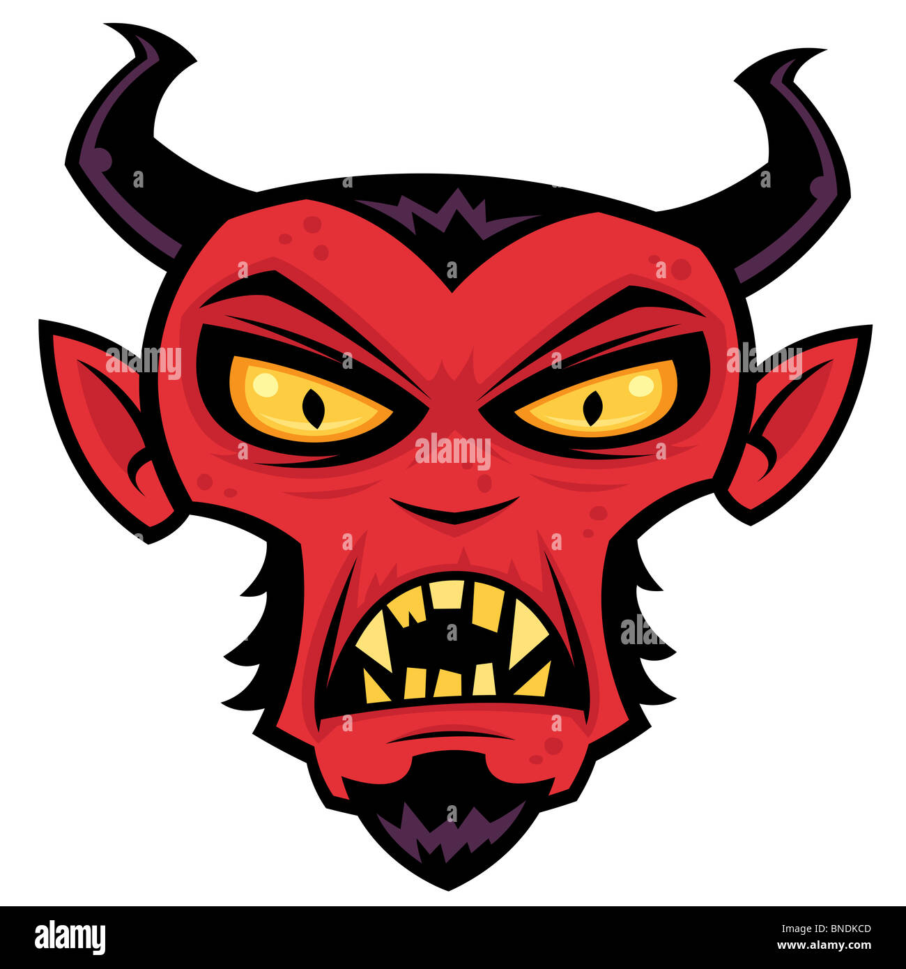 Mad Devil Character. Cartoon illustration of a mean red devil character with horns, goatee, yellow eyes and fangs. - Stock Image