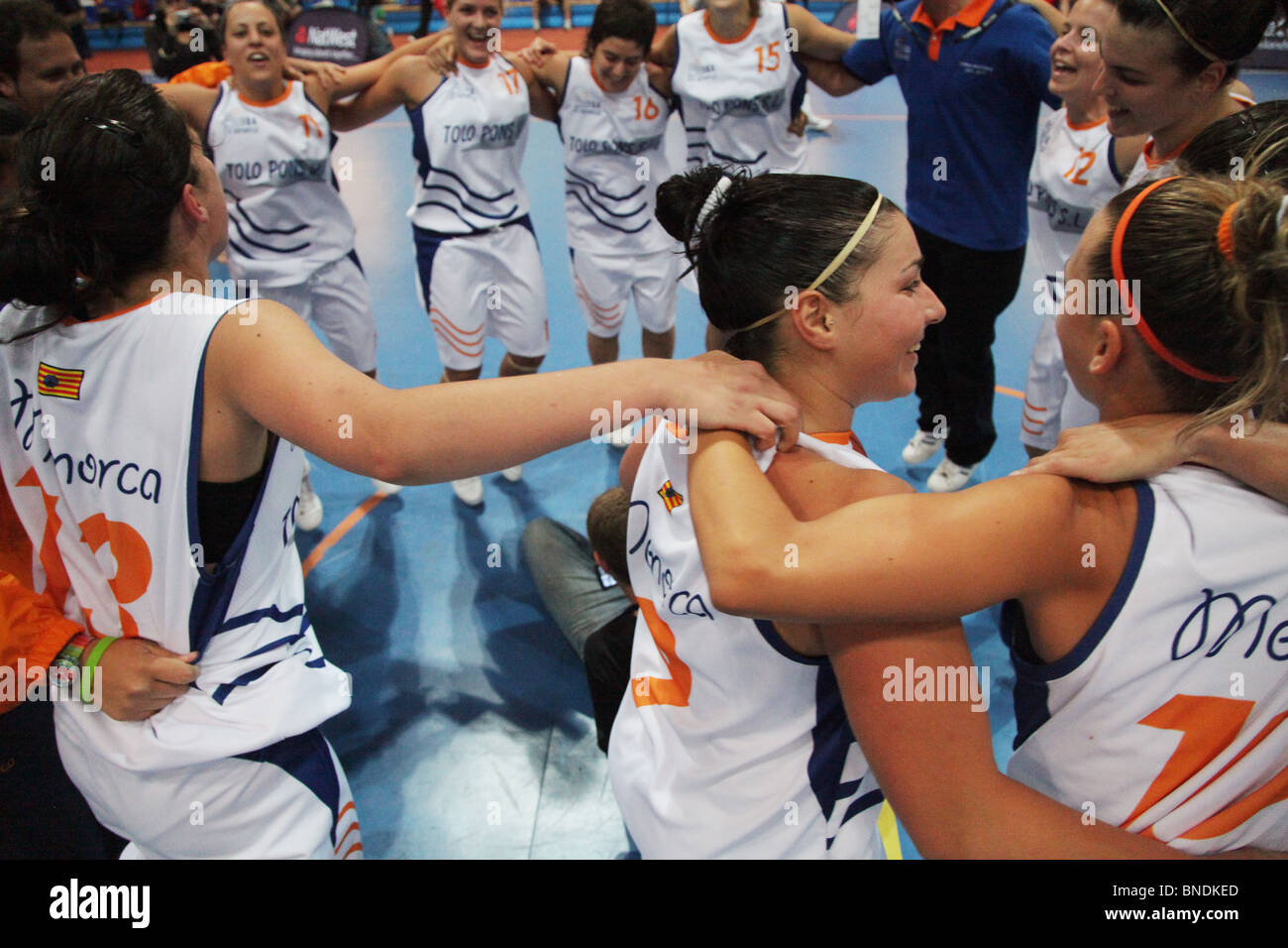 Women's Basketball Final Menorca defeat Guernsey NatWest Island Games 2009 in Eckeröhallen on Åland, - Stock Image