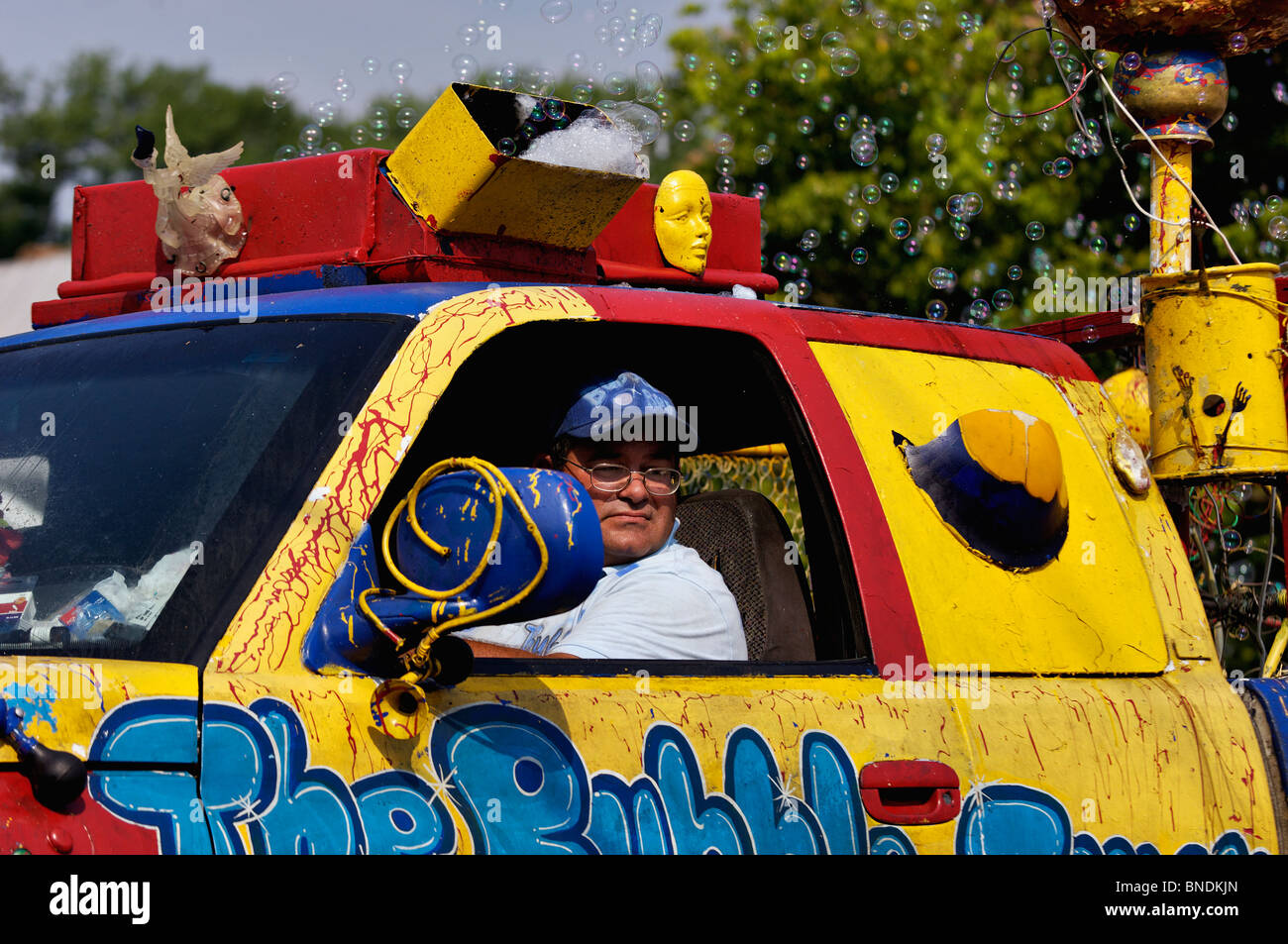 Bubble Truck in Oldest Continuous Independence Day Parade in America in New Pekin, Indiana - Stock Image