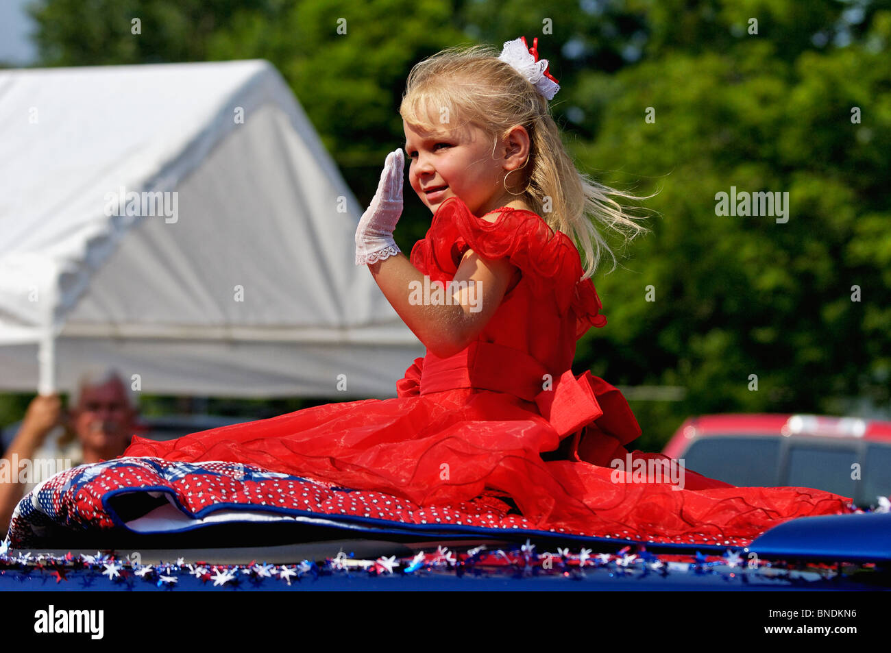 Princess Contestant in Oldest Continuous Independence Day Parade in America in New Pekin, Indiana - Stock Image