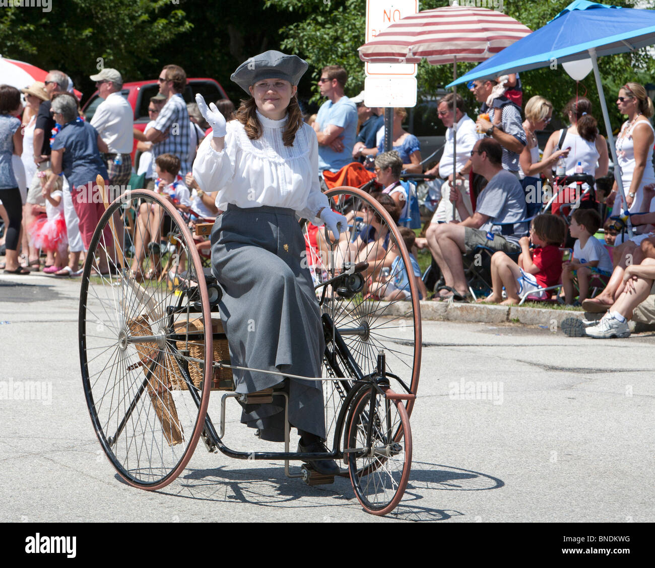 Amherst, New Hampshire - Antique tricycle in the July 4 parade in a small New England town. - Stock Image