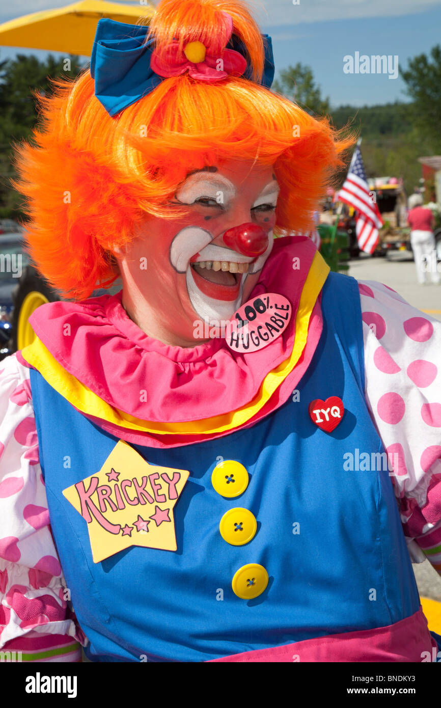 Amherst, New Hampshire - Krickey the Clown at the July 4 parade in a small New England town. - Stock Image