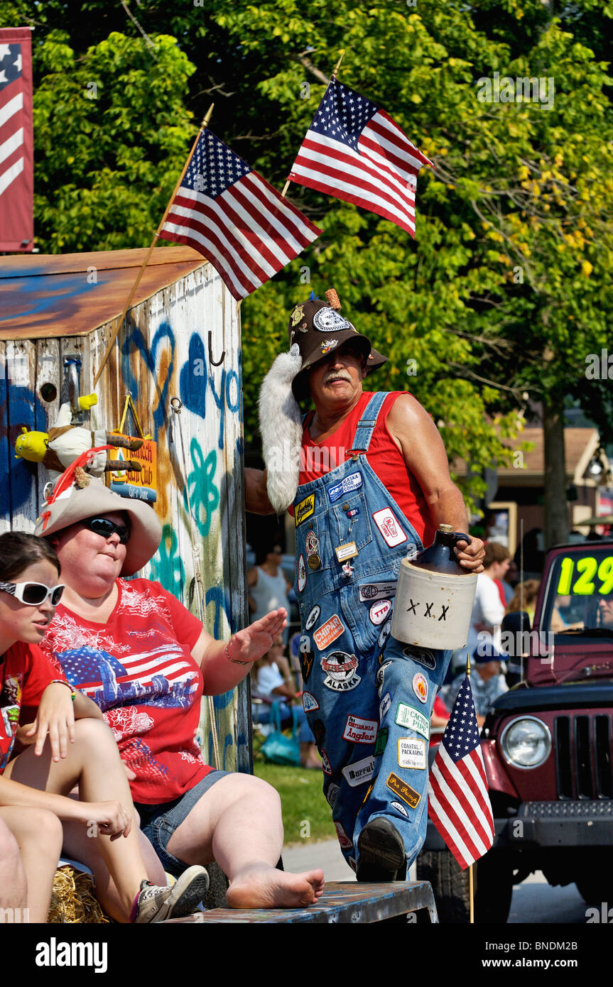 Hillbilly Float in Oldest Continuous Independence Day Parade in America in New Pekin, Indiana - Stock Image