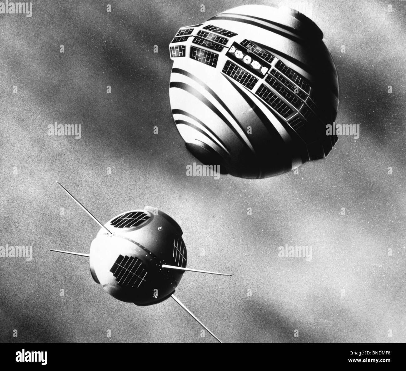 Two satellites orbiting in space, Transit 2A Satellite, Solar Radiation Measurement Satellite, US Navy - Stock Image
