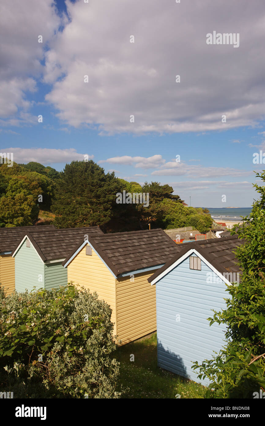 Wooden chalets at Alum Chine, Bournemouth, England - Stock Image