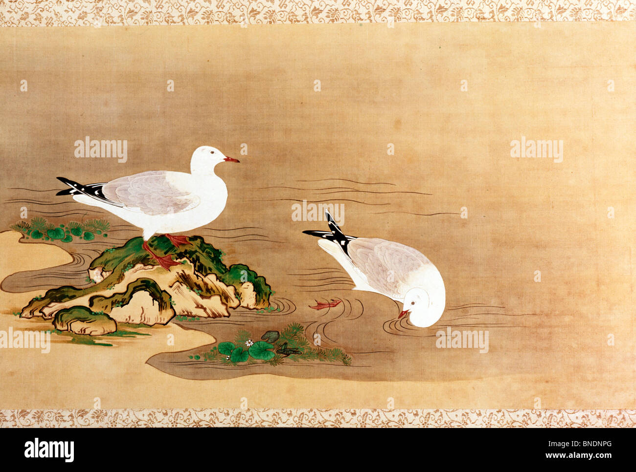 USA, Washington, D.C., Smithsonian Institution, Ducks, Japanese Art, handscroll, - Stock Image