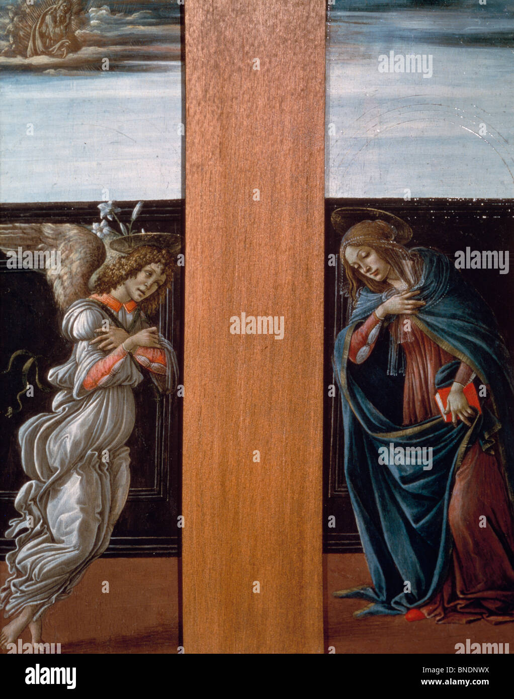 The Annunciation by Sandro Boticelli, tempera/wood panel, 1495, 1444-1510, Russia, Moscow, Pushkin Museum of Fine - Stock Image