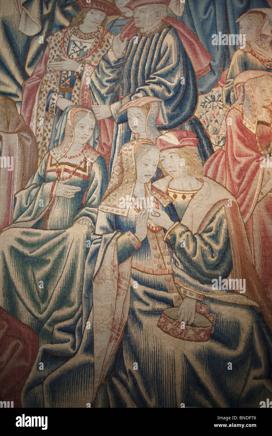 Tapestry in a royal palace, Great Hall, Hampton Court Palace, London, Surrey, England - Stock Image