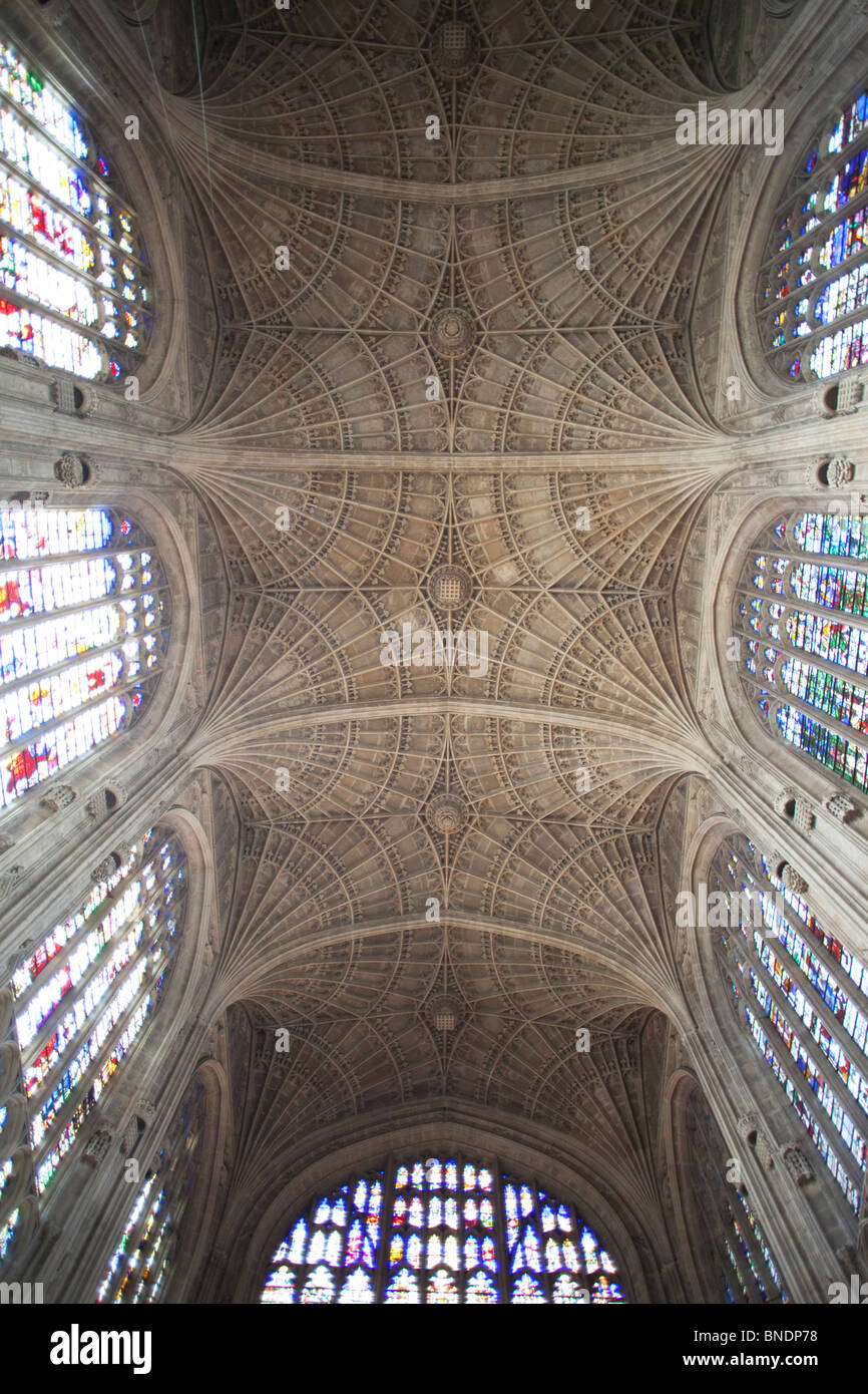 Interiors of a chapel, King's College Chapel, King's College, Cambridge University, Cambridge, Cambridgeshire, England Stock Photo