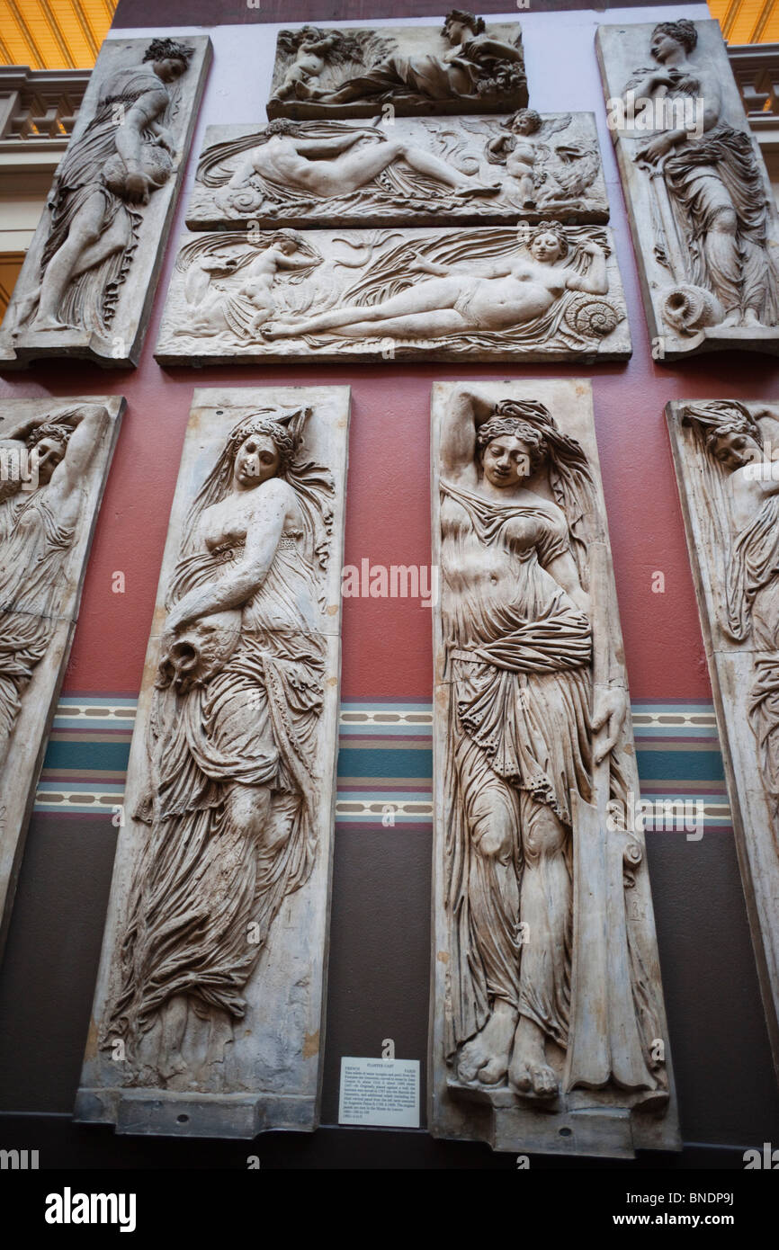 Reliefs of water nymphs from the Fontaine des Innocents in Paris, Cast Courts, Victoria and Albert Museum, London, Stock Photo