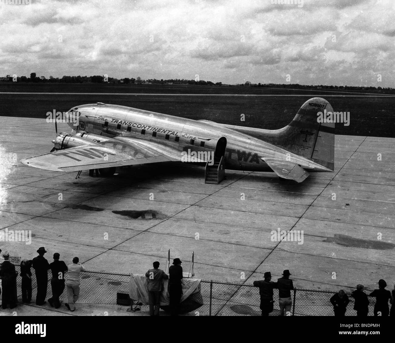 High angle view of an airplane, 1940 - Stock Image