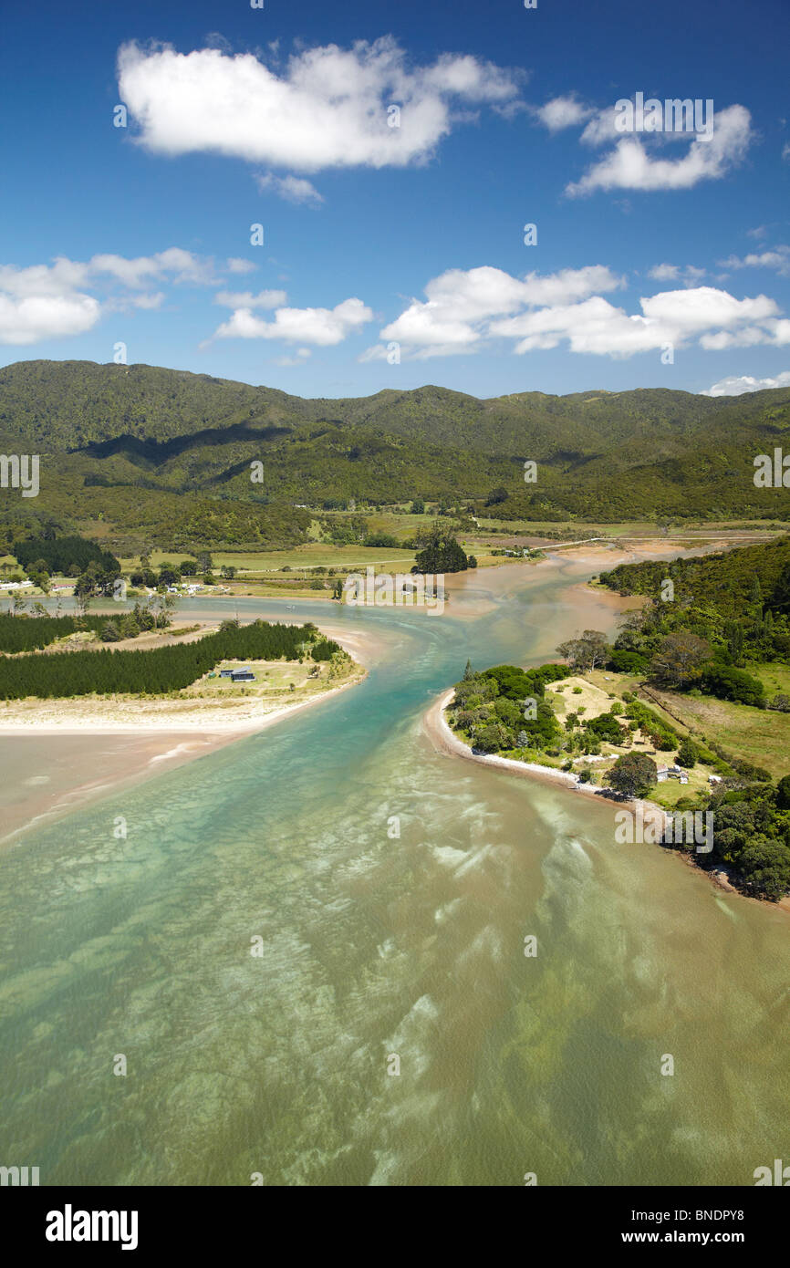 Kennedy Bay, Coromandel Peninsula, North Island, New Zealand - aerial Stock Photo