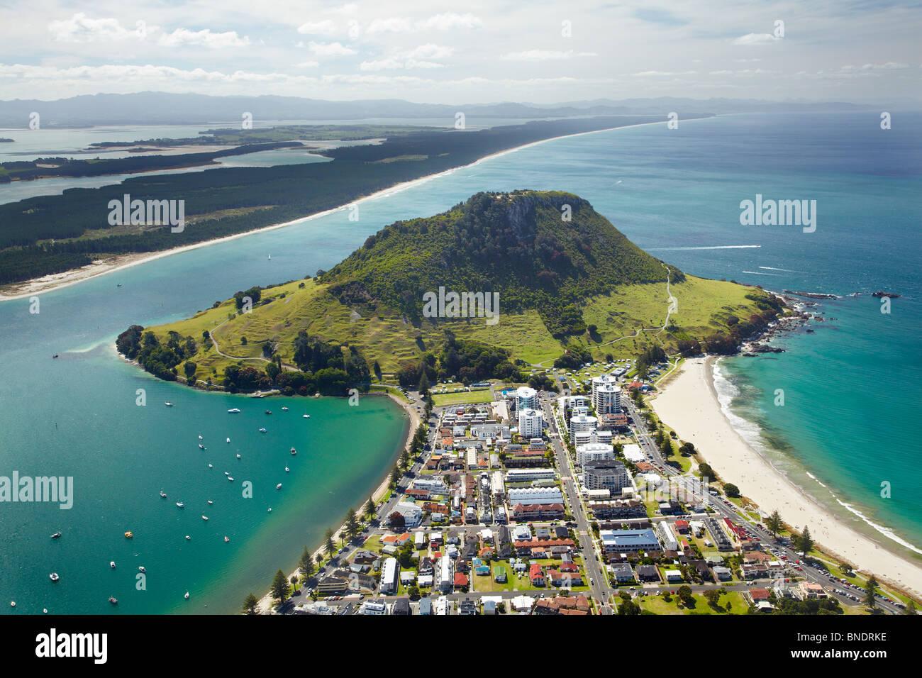Mount Maunganui, Tauranga, Bay of Plenty, North Island, New Zealand - aerial - Stock Image