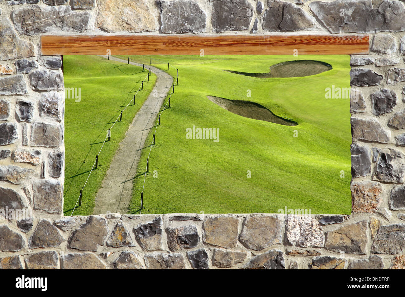 view window golf course stone masonry wall - Stock Image