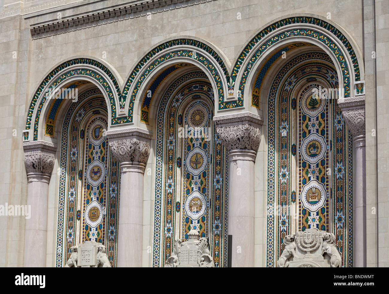 detail of decoration of facade of Rodeph Shalom Synagogue, 607-615 N. Broad St., Philadelphia, Pennsylvania, USA - Stock Image