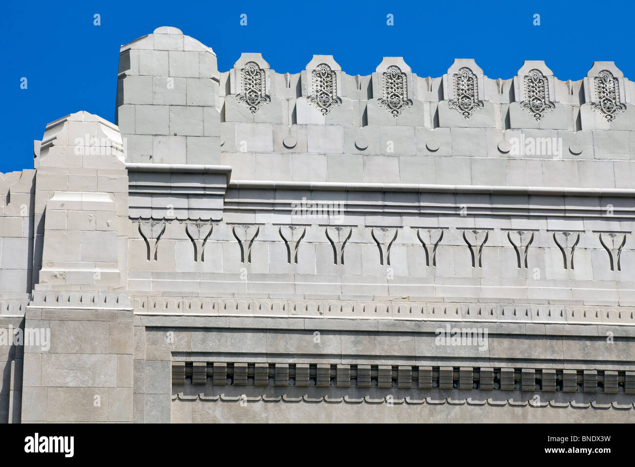 detail of side facade of Rodeph Shalom Synagogue, 607-615 N. Broad St., Philadelphia, Pennsylvania, USA - Stock Image