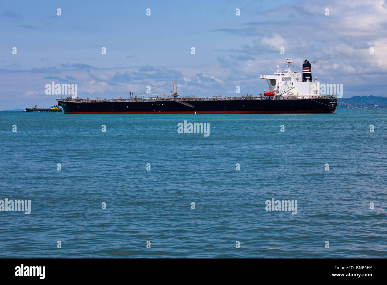 Ship at port in Batumi, Georgia - Stock Image
