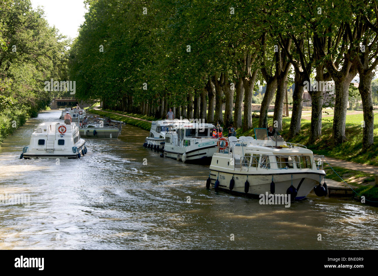 Boats on the Canal du Midi in Languedoc, France - Stock Image