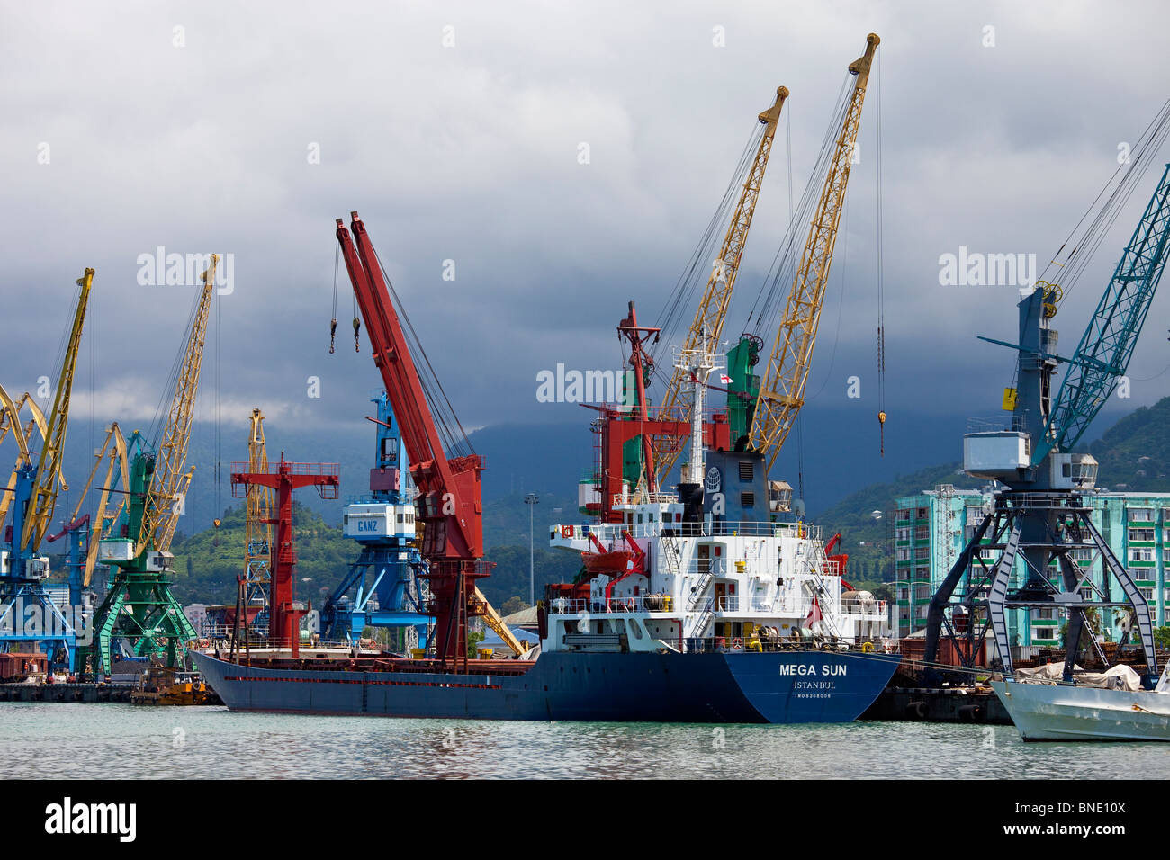 Turkish ship at port in Batumi, Georgia - Stock Image