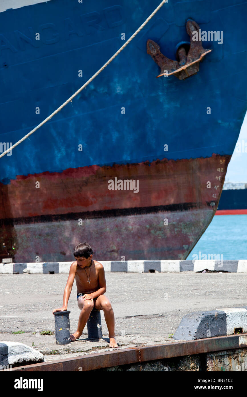Boy swimming in the Black Sea in Batumi, Georgia - Stock Image