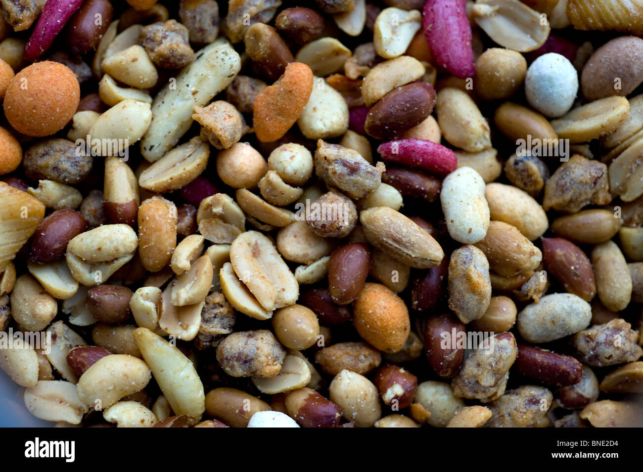 Close-up of salted, mixed nuts Stock Photo