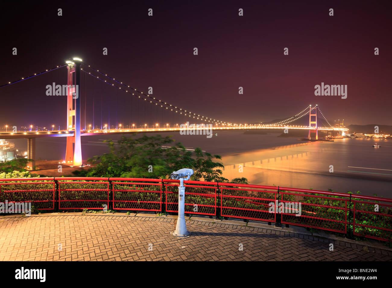 Tsing Ma Bridge from Lantau Link View Point. Hong Kong - Stock Image