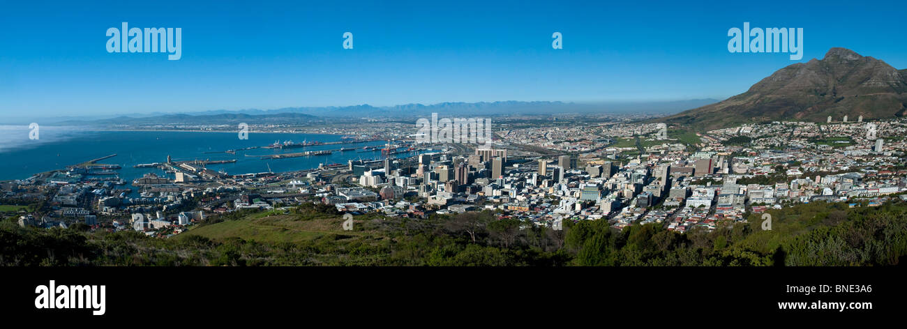 Panoramic view from Devil's Peak to V%A Waterfront in Cape Town South Africa - Stock Image