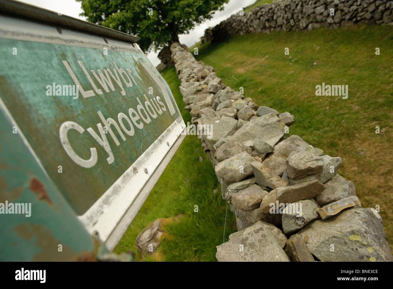 Public footpath sign in welsh language along an old lane near Trawsfynydd in Snowdonia National Park, Gwynedd North - Stock Image