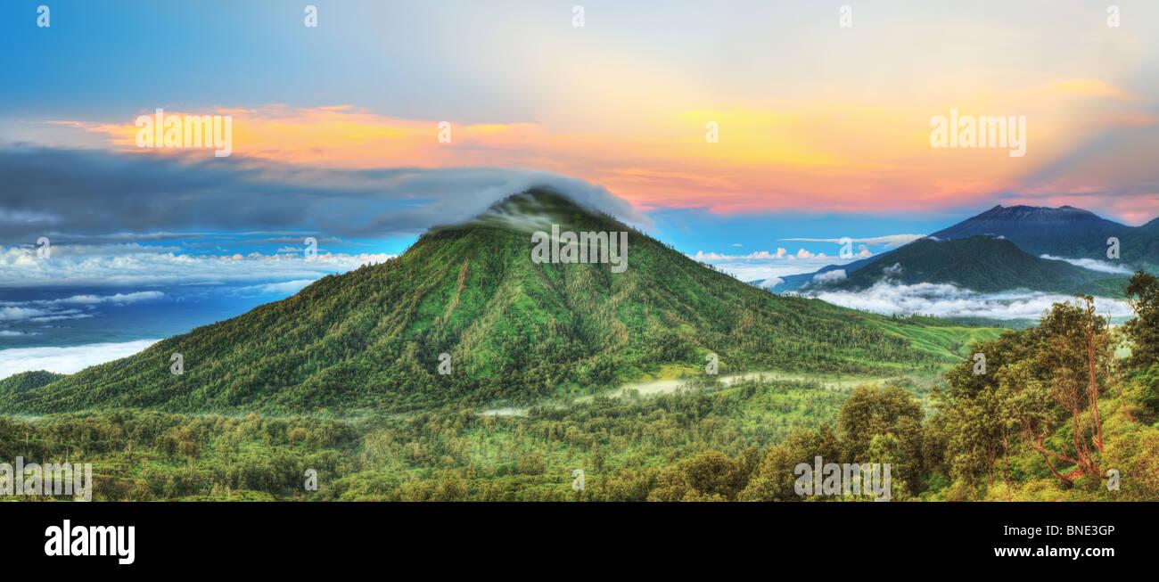 Volcano Ranti. View from the volcano Ijen. Java. Indonesia. Panorama. - Stock Image