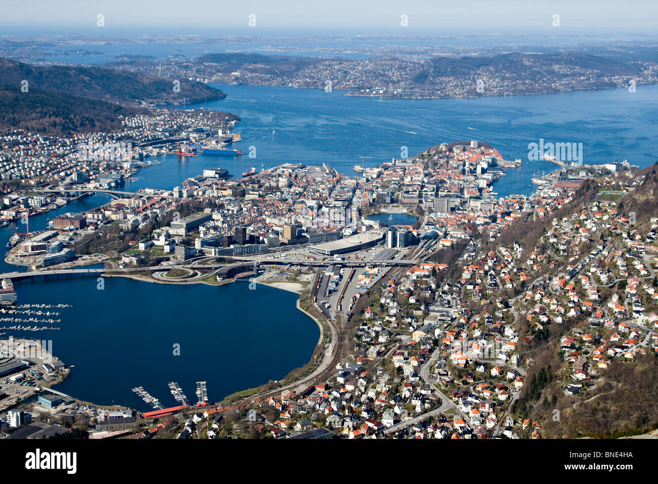 The Norwegian city of Bergen, an important cultural centre in Norway, Europe. - Stock Image