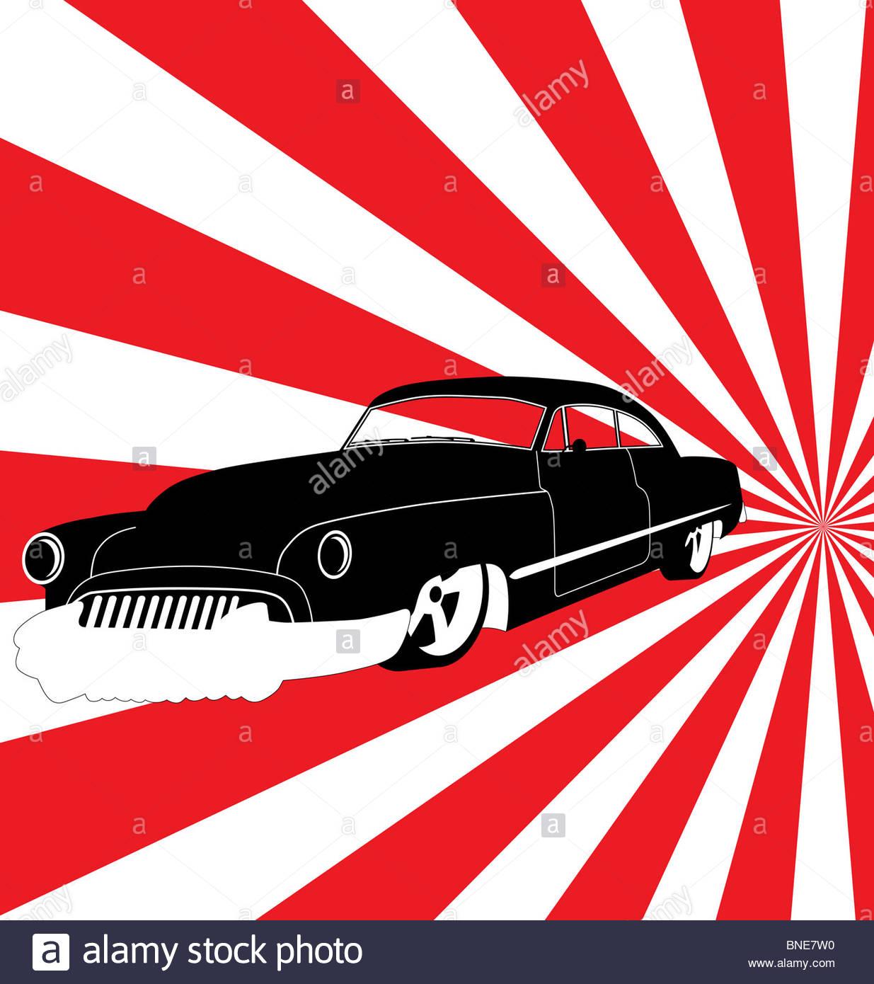 retro car illustration - Stock Image