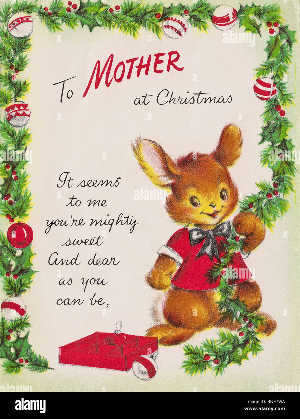 TO MOTHER AT CHRISTMAS cover of Hallmark Xmas card from 1950s to a ...