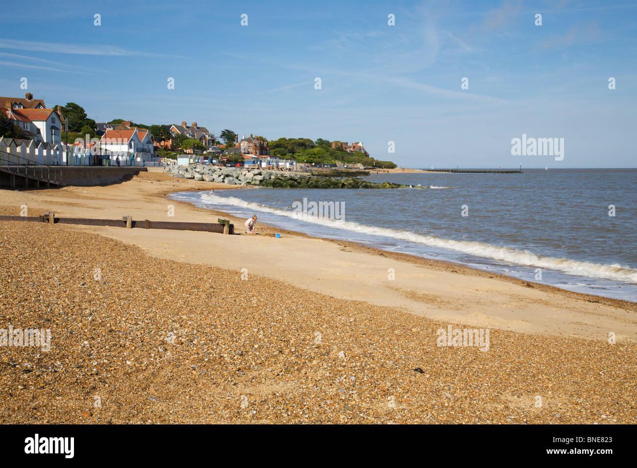 Felixstowe golden sandy beach, Suffolk, England, UK. - Stock Image