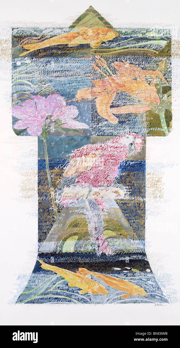 Kimono with Flowers, Fish and Bird by John Bunker, mixed media on paper, 1990, 20th Century, Private Collection Stock Photo