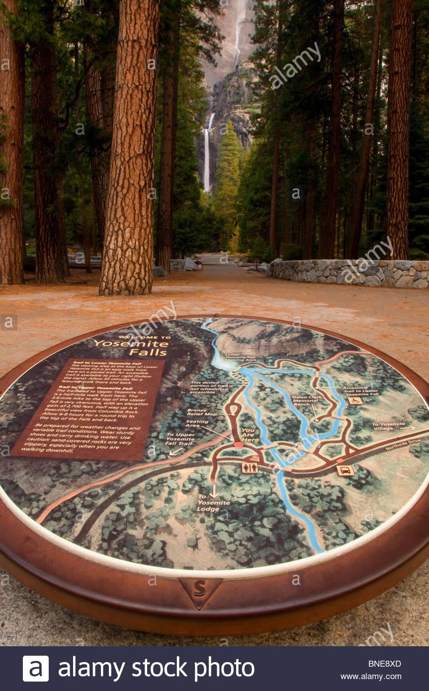 Yosemite Falls interpretive map, Yosemite National Park, CA, USA ...