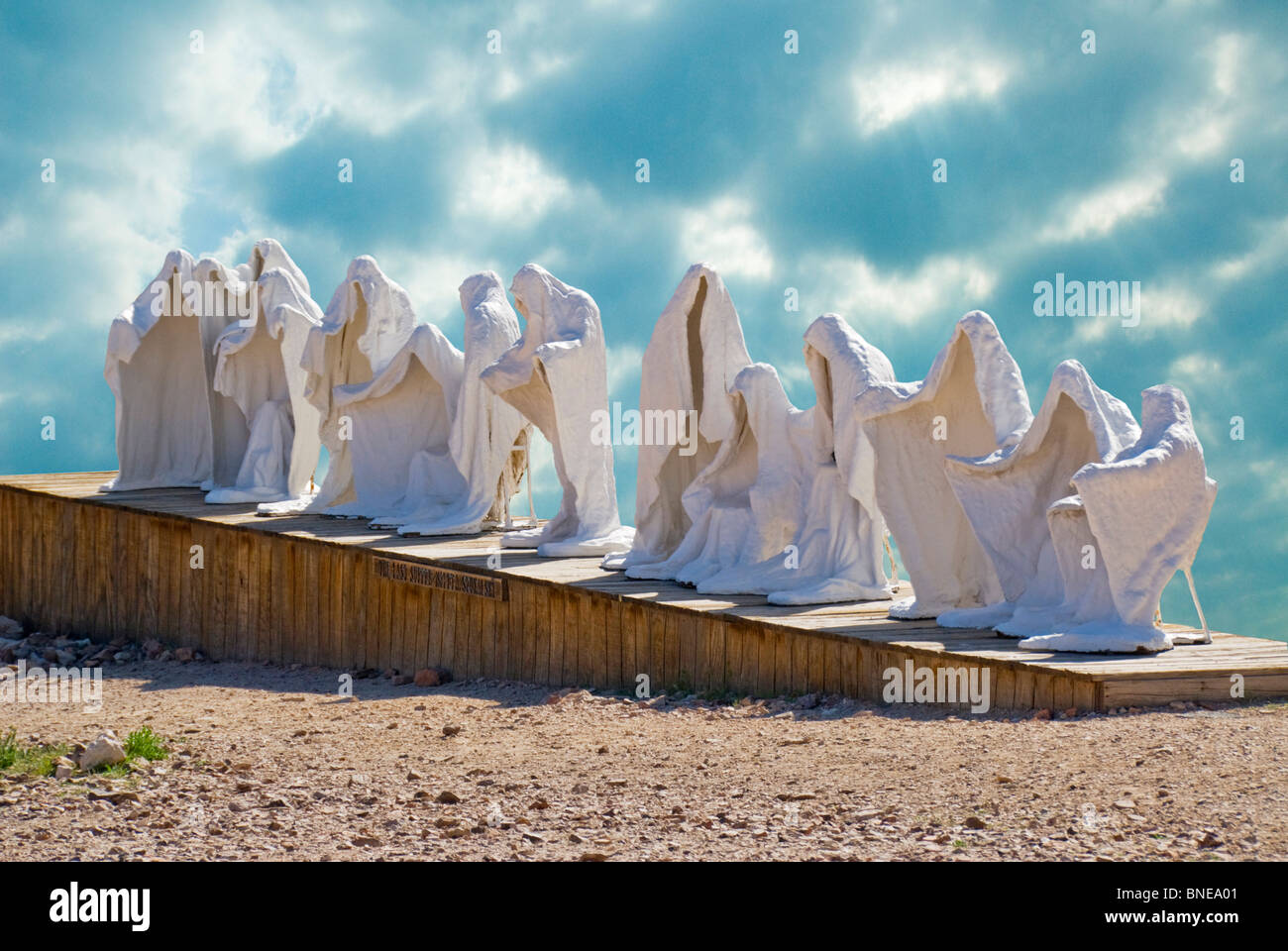 Sculptures representing 'The Last Supper' in a museum, Goldwell Open Air Museum, Rhyolite Ghost Town, Nevada, - Stock Image