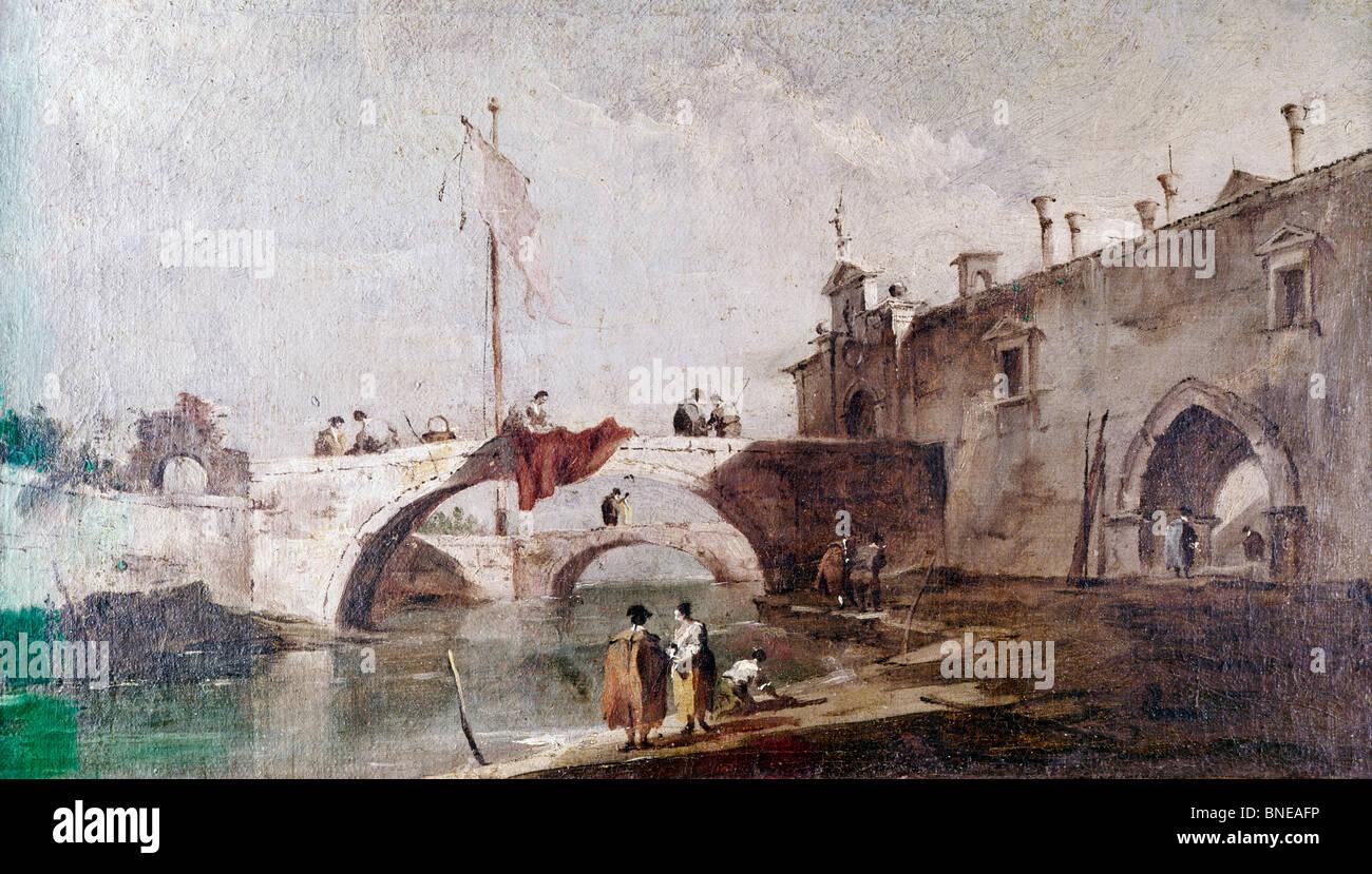 Bridge in Venice by Canaletto, 1697-1768 - Stock Image
