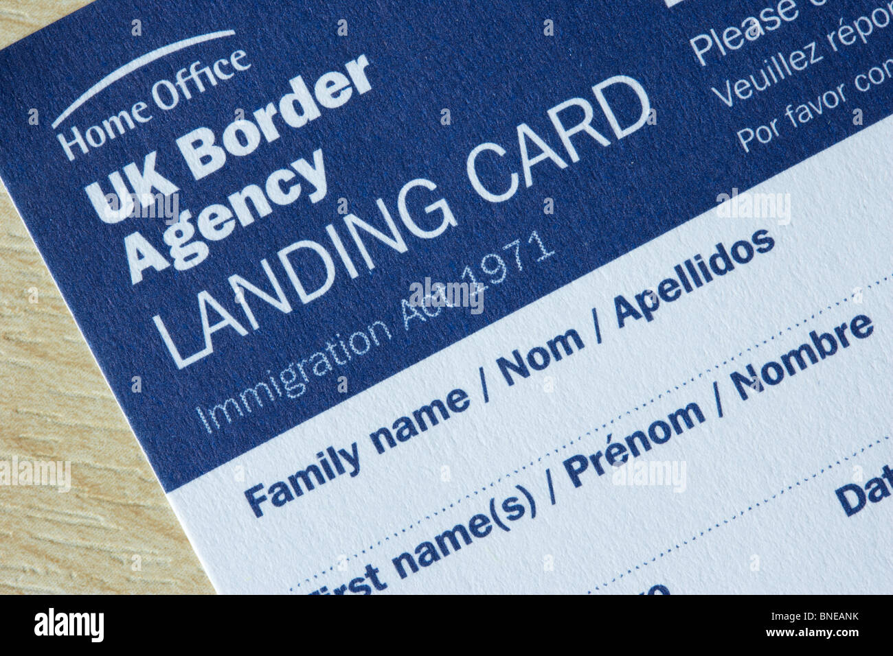 UK border agency landing card immigration form - Stock Image