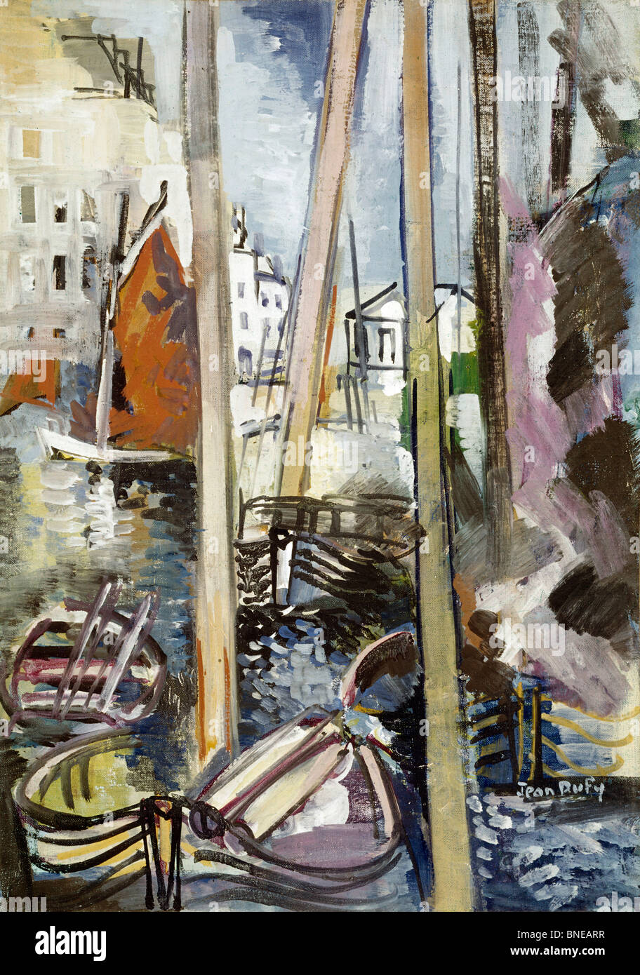 Yachting Basin,  by Jean Dufy,  (1888-1964) - Stock Image