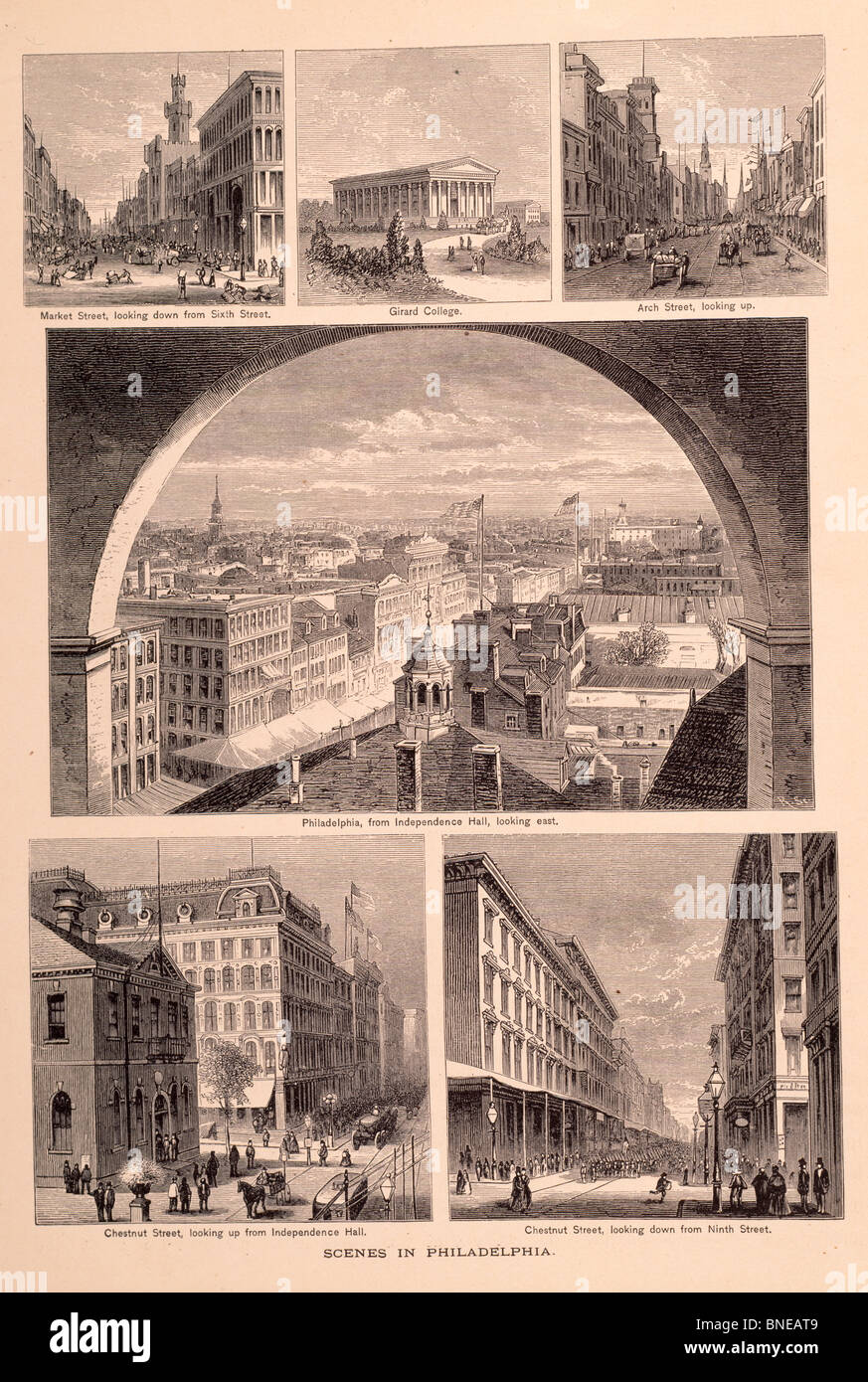 Scenes In Philadelphia by unknown artist,  etching - Stock Image