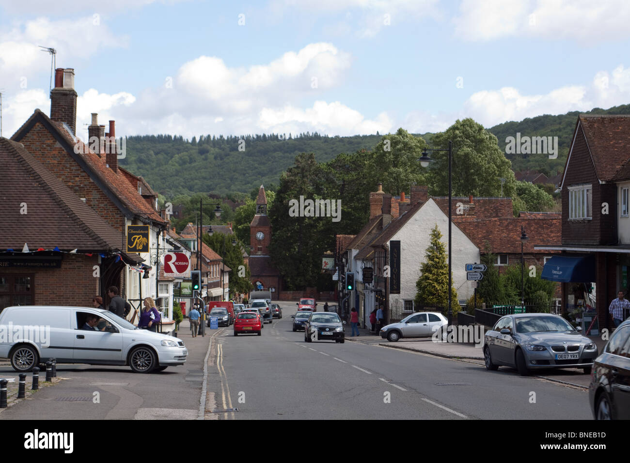 View along Wendover High Street towards the Chilterns - Stock Image