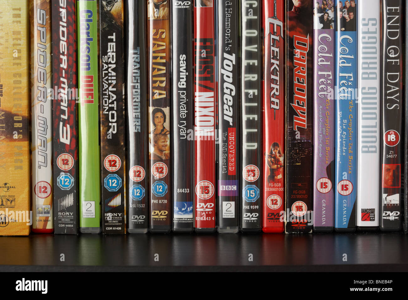 row of dvd video cases on a shelf showing a range of BBFC and irish film